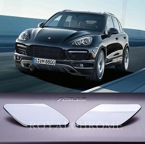 US STOCK x2 CHROME HeadLight Washer Jet Covers for PORSCHE CAYENNE 958 11-17