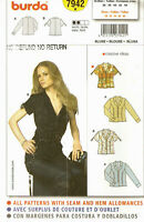 Burda Sewing Pattern 7942 Misses Short Long Sleeve Blouse Notch Collar 10-18