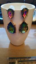 Crystal Rhinestone CZ large earrings, Luxury Statement matching Crystal Chokers