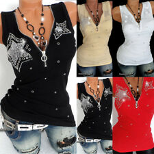 UK Plus Size Womens Sleeveless Sequin Vest Tops Summer Ladies Blouse T Shirt