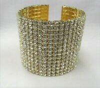 Gold Plated Wide Rhinestone Cuff Bracelet Wedding Prom Dance Special Occasion