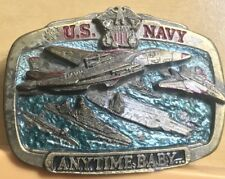 Vintage The Great  American Buckle US Navy Anytime Baby Mens Belt Buckle 3D 1983