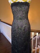 Stunning Blue and Green Lace Beaded Evening Gown with Matching Jacket Bergdorf