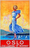 Oslo Norway Norwegian Europe European Vintage Travel Advertisement Art Poster