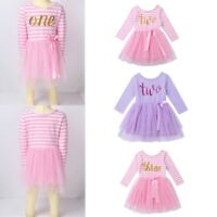 Toddlers Girls Birthday Party Dress Kids Glitter One Printed Princess Tutu Dress