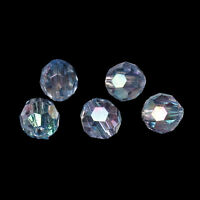 250 Lovely Sparkling Pale Blue AB Round Faceted Acrylic Crystal Spacer Beads,6mm