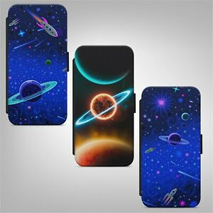 Space Planet Stars Galaxy FLIP WALLET PHONE CASE COVER FOR IPHONE SAMSUNG HUAWEI