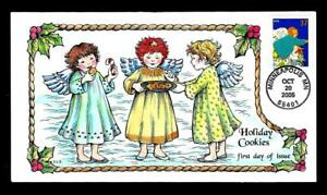 1¢ WONDER ~ 2005 COLLINS HAND-PAINTED FIRST DAY COVER W/ HOLIDAY COOKIES ~ T184