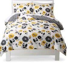 Room 365 Textured Floral Duvet 3pc Set Yellow/Black ~ Full/Queen