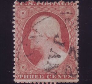 US #25A type II Dull Red Rare issue, undervalued. Really nice example Sc $900+++