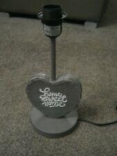 "GREY ""HOME SWEET HOME"" HEART SHAPED LAMP BASE - NEW"