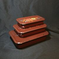 Set of 3 Vintage Brown Enamel Containers Food Dish Boxes With Lids