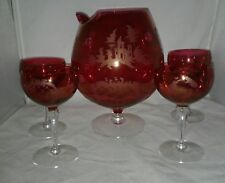 Brandy Snifter Mixed Drink Pitcher 4 Glasses Acid Etched Ruby Cut to Clear