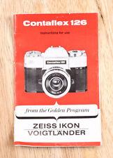 ZEISS CONTAFLEX 126 INSTRUCTION BOOK/205361