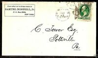 "US FANCY CANCEL COVER ~ NEW YORK CITY ""STAR & CROSS CUTOUT"" ~ COLE #STG-4"