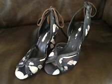 M&S Limited Edition Brown Leather Wedge Sandals Size 4 Ankle Ties New