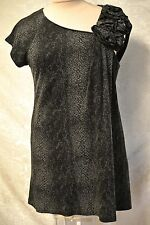 Sarelle Snake Print Soft Sweater Long Tunic Top-Asymmetric Gathered Shoulder-46