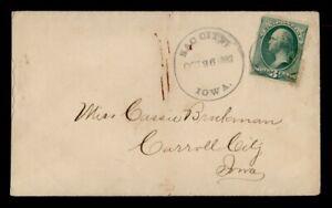DR WHO 1882 SAC CITY IA FANCY CANCEL STAR TO CARROLL CITY IA  g41243