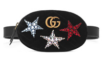 GUCCI Black Marmont 2.0 Crystal Stars Velvet Belt Fanny Bag Size 75