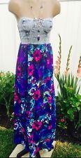 True Vintage Dress Retro Bleached Denim Sundress Maxi Floral Purple Rocker