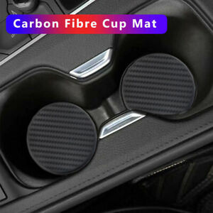 2x Car Dashboard Water Cup Slot Anti-Slip Mats Black Carbon Fiber Accessories