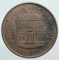 1842 LOWER CANADA Antique Montreal Building HALF PENNY BANK TOKEN Coin i90354