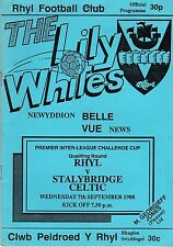 RHYL V STALYBRIDGE CELTIC   PREMIER INTER LEAGUE CUP 7/9/88
