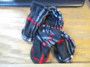 Simply Wag New Black/Grey/White/Red Plaid Dog Booties - Small NIP
