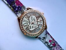Smart  Heart and  Crystal Quartz Watch  Patterned Denim Strap  f