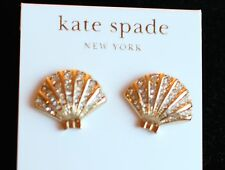 NWT Kate Spade Shore Thing Clam Studs Earrings gold pave crystals Shell seashell