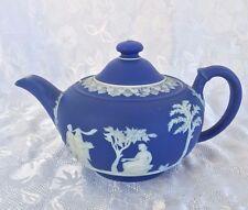 """Antique pre 1860 Wedgwood Jasperware Dark Cobalt Blue 2 Cup Teapot 8"""" Long As Is"""