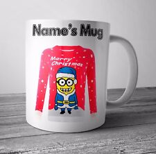 Personalised Mug / Cup Minion Jumper Christmas Gift / Secret Santa  - Any NAME