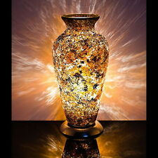 Fabulous  Mosaic Glass Crackle Yellow Gold Vase Lamp