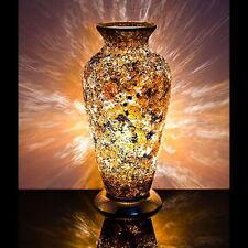 Fabuloso Mosaico De Vidrio Craquelado Oro Amarillo Jarrón Lámpara