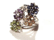 Bijou  argent 925 bague fleurs multicolores taille 60  ring