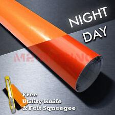 12x48 Reflective Orange Vinyl Wrap Sticker Decal Graphic Sign Adhesive Film