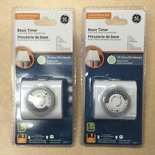 2 X GE Indoor Plug-In 24 Hour Mechanical Timer Model 15267- White