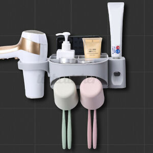 Bathroom Automatic Toothpaste Dispenser+Toothbrush Cup Holder Wall Mount Stand