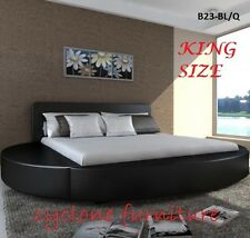 ITALIAN DESIGN KING SIZE ROUND BLACK PU LEATHER BED FRAME
