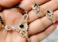 Lucky Charm Gold Tone Mangalsutra With Earrings  Black Top Wedding Party Jewelry