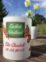 4 x Tischlicht Schuleingang Windlicht Einschulung mit Name,Datum, Schmetterlinge