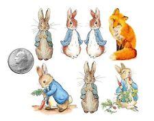 Ship from NY - Temporary Tattoo - Beatrix Potter - Set of 6 Rabbits and Fox