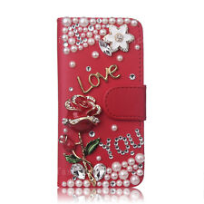 Fashion Luxury Bling Diamond Crystal Flip Leather Wallet Cards Phone Case Cover