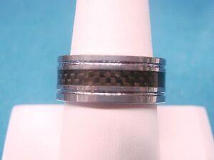 RT Tungsten Carbide Wedding Band Ring Checkerboard Insert Size 9.5  9.3mm wide