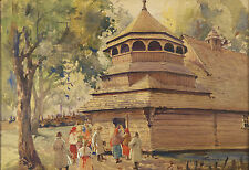 Stanislaw GIBINSKI ( Polish 1882-1971) original signed watercolor painting
