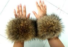 Genuine raccoon fur hand wrist warmer fur cuffs natural brown one pair xmas gift