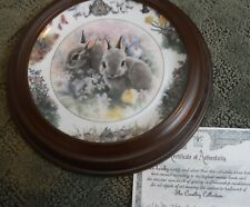 """""""April Outing"""" Backyard Buddies Plate, The Crestley Collection rabbit bunny"""