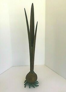 Vintage Carnevale Bud Vase Verdigris Brass Naturalistic Flower Tulip Bulb