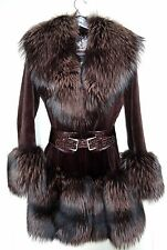 Romantini Luxury Sheared Mink Brown Coat with Fox Fur Collar Cuffs Size XS Italy