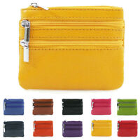 Ladies Womens 3 Zipped Compartments Coin Purse Real Soft Leather Wallet Pouch UK